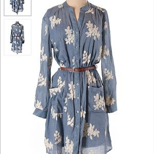 Dresses & Skirts - Belted Blue Embroidered floral Dress size 14W